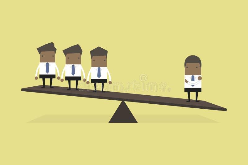 Ένας αφρικανικός επιχειρηματίας σε μια πλευρά του ζυγού είναι βαρύτερος από πολλούς ανώτερους υπαλλήλους η άλλη πλευρά διανυσματική απεικόνιση