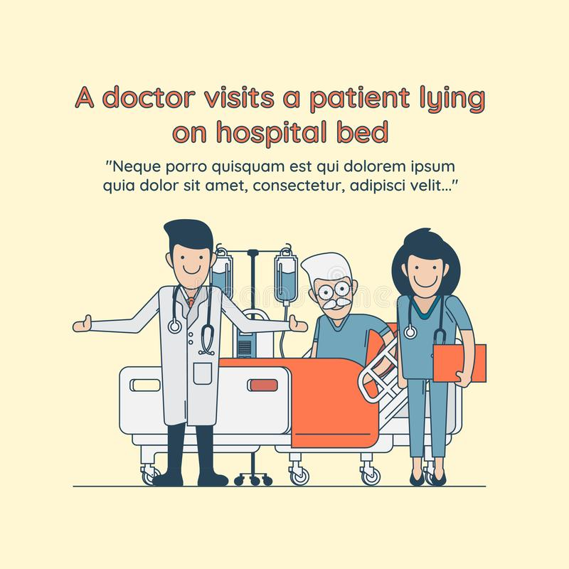 Ένας γιατρός επισκέπτεται έναν ασθενή στο νοσοκομειακό κρεβάτι διανυσματική απεικόνιση