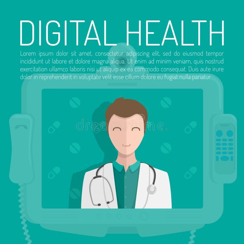 Ένας γιατρός με το στηθοσκόπιο Ψηφιακό έμβλημα υγείας που τίθεται με τα στοιχεία ιατρικής σε ένα μπλε υπόβαθρο επίσης corel σύρετ διανυσματική απεικόνιση