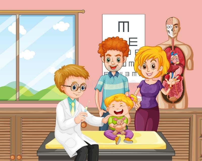 Ένας γιατρός που δίνει το εμβόλιο παιδιών διανυσματική απεικόνιση