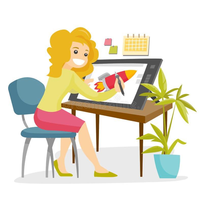 Ένας γραφικός σχεδιαστής λευκών γυναικών εργάζεται στο γραφείο γραφείων απεικόνιση αποθεμάτων