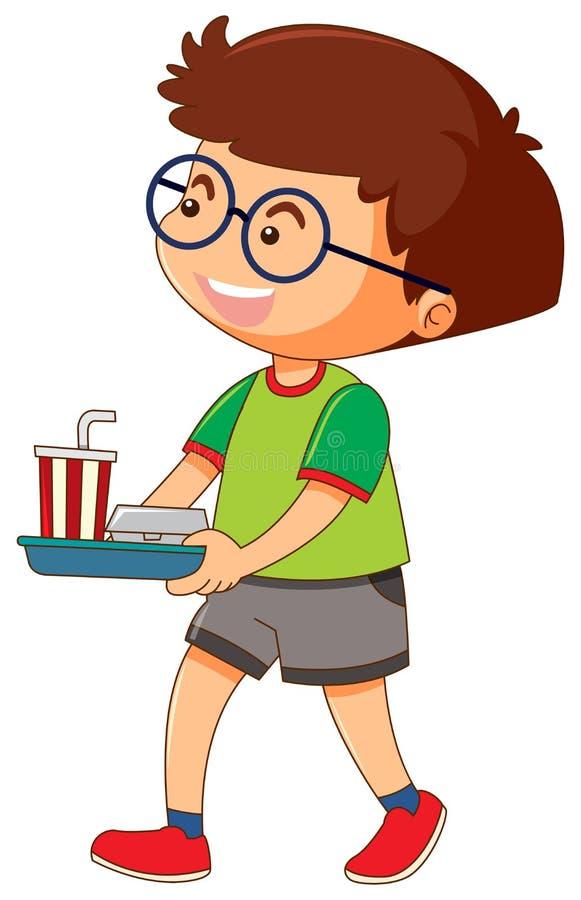 Ένας δίσκος εκμετάλλευσης αγοριών των τροφίμων και του ποτού ελεύθερη απεικόνιση δικαιώματος