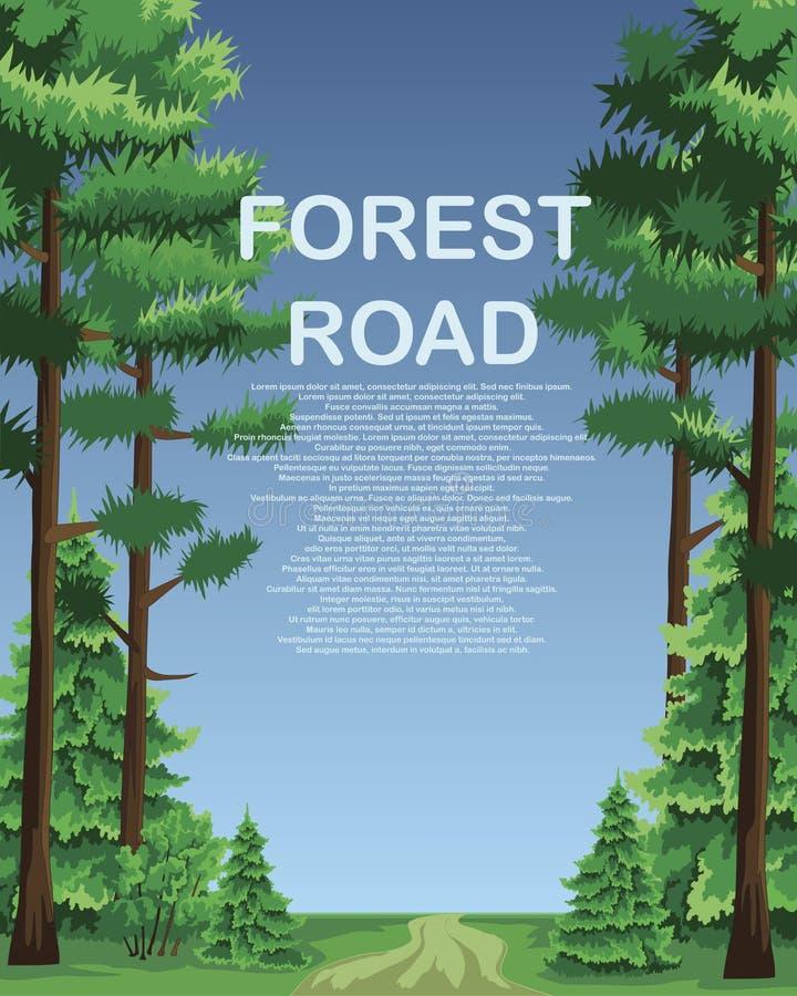 Ένας δασικός δρόμος με τα κωνοφόρα δέντρα κατά μήκος των ακρών διανυσματική απεικόνιση