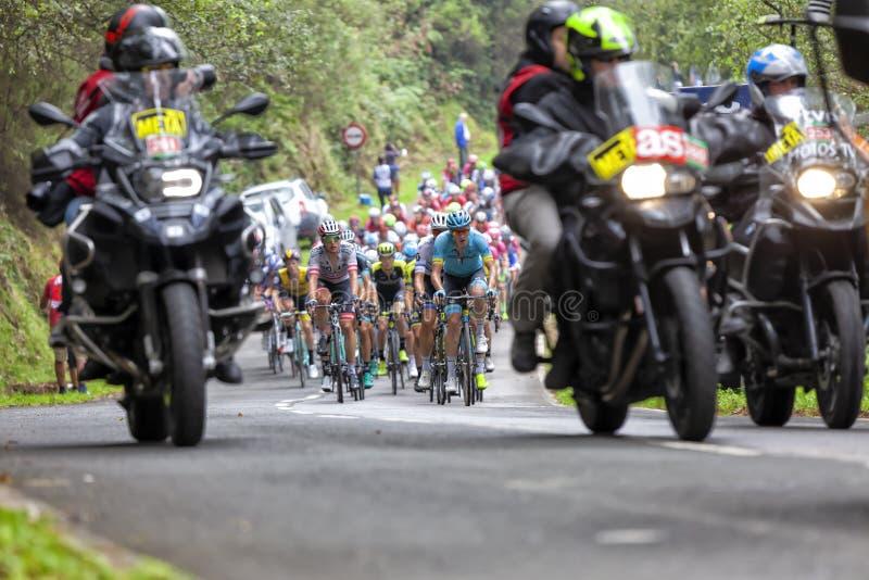 Ένας δρομέας της ομάδας Astana οδηγεί την κύρια ομάδα ποδηλατών στο Λα Vuelta στην Ισπανία το 2018 στοκ φωτογραφία με δικαίωμα ελεύθερης χρήσης