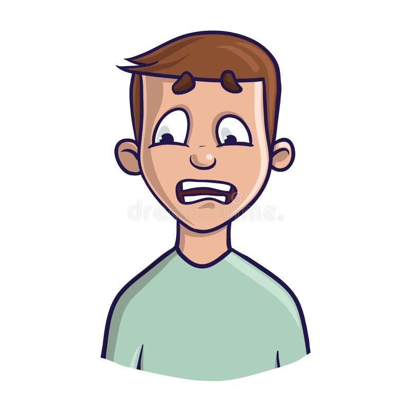 Ένας εκφοβισμένος ή μπερδεμένος νεαρός άνδρας Διανυσματική απεικόνιση πορτρέτου απεικόνιση αποθεμάτων