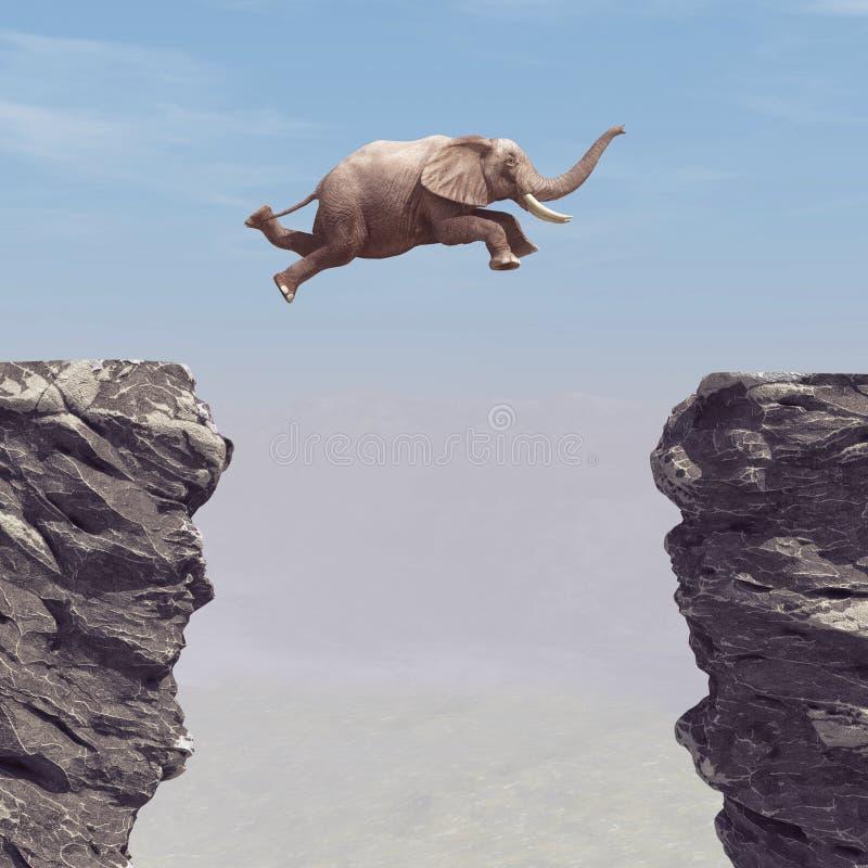 Ένας ελέφαντας που πηδά πέρα από ένα χάσμα ελεύθερη απεικόνιση δικαιώματος