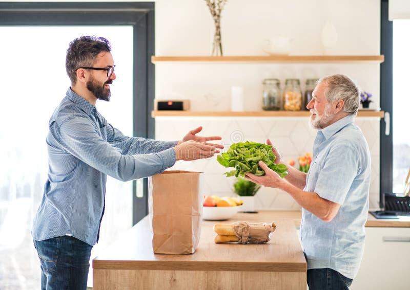 Ένας ενήλικος γιος hipster και ένας ανώτερος πατέρας στο εσωτερικό στο σπίτι, που ανοίγουν τις αγορές στοκ φωτογραφία με δικαίωμα ελεύθερης χρήσης