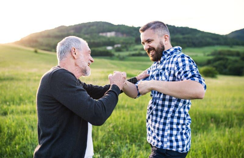 Ένας ενήλικος γιος hipster με τον ανώτερο πατέρα που κάνει την πρόσκρουση πυγμών στη φύση στο ηλιοβασίλεμα στοκ φωτογραφία