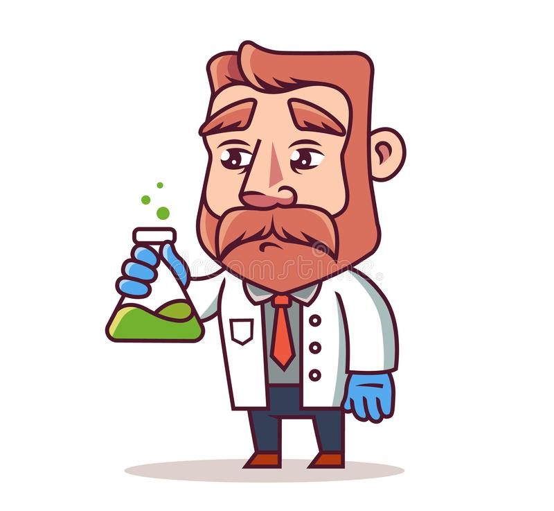 Ένας επιστήμονας με μια φιάλη στα χέρια του bearded man απεικόνιση αποθεμάτων