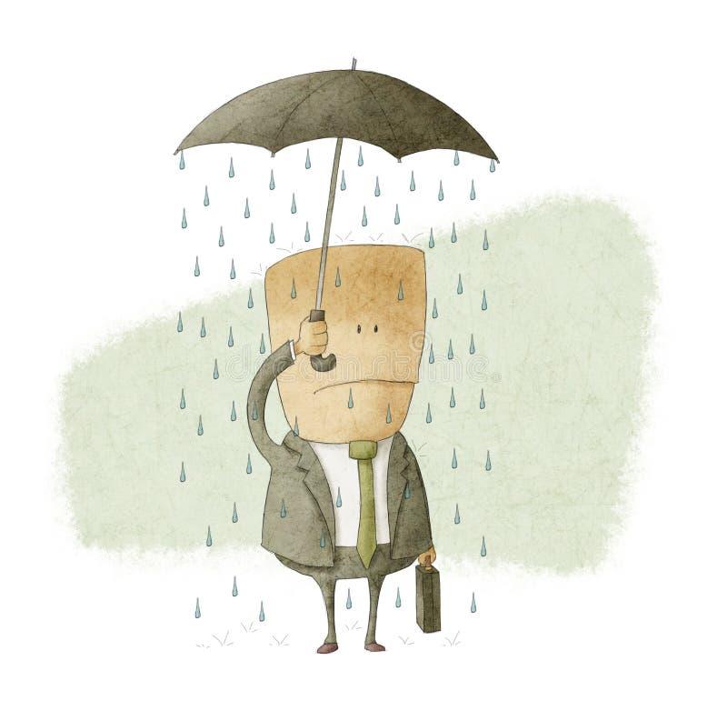 Ο επιχειρηματίας κάτω από μια ομπρέλα και παίρνει υγρός ελεύθερη απεικόνιση δικαιώματος