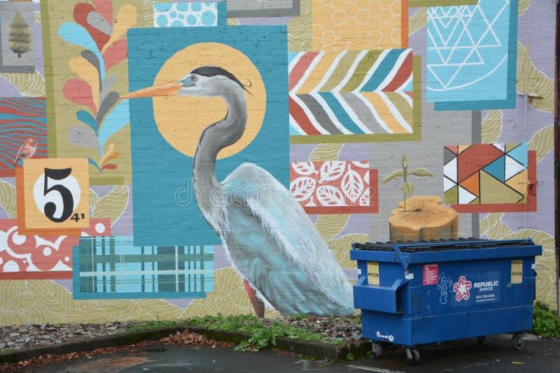 Ένας ερωδιός σε τοιχογραφία στο κέντρο του Κορβάλις Όρεγκον στοκ εικόνες