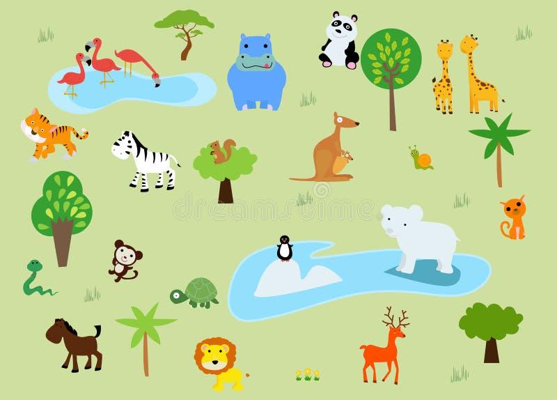 Ένας ζωολογικός κήπος και τα ζώα σε μια όμορφη φύση απεικόνιση αποθεμάτων
