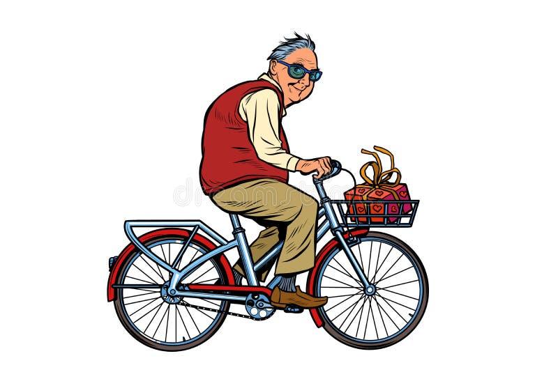 Ένας ηληκιωμένος με ένα δώρο, που οδηγά ένα ποδήλατο ελεύθερη απεικόνιση δικαιώματος
