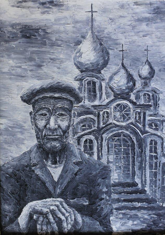Ένας ηληκιωμένος κοντά στην εκκλησία, ελαιογραφία ελεύθερη απεικόνιση δικαιώματος