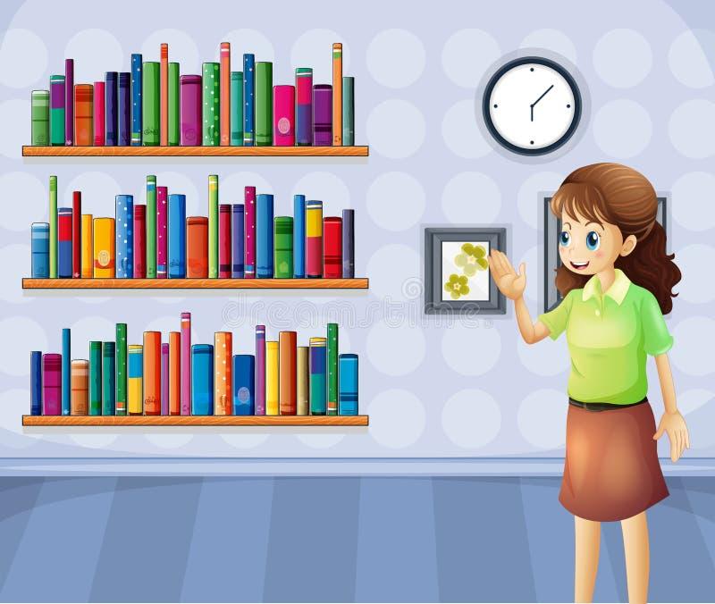 Ένας θηλυκός βιβλιοθηκάριος μέσα στη βιβλιοθήκη διανυσματική απεικόνιση