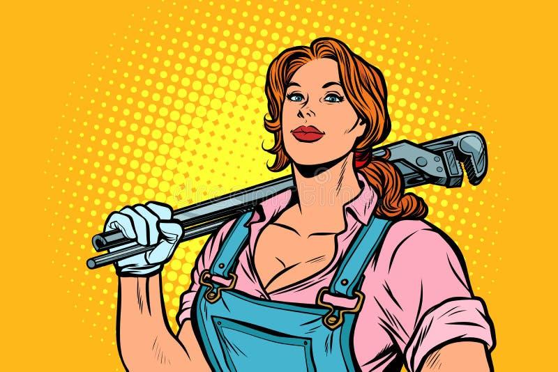 Ένας ισχυρός εργαζόμενος υδραυλικών γυναικών μηχανικός με το διευθετήσιμο γαλλικό κλειδί απεικόνιση αποθεμάτων