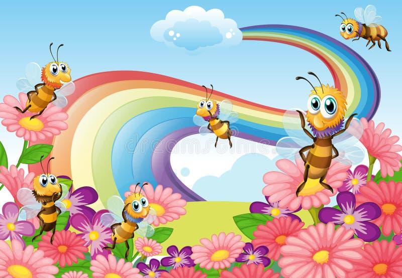 Ένας κήπος στην κορυφή υψώματος με τα ανθίζοντας λουλούδια και τις μέλισσες διανυσματική απεικόνιση