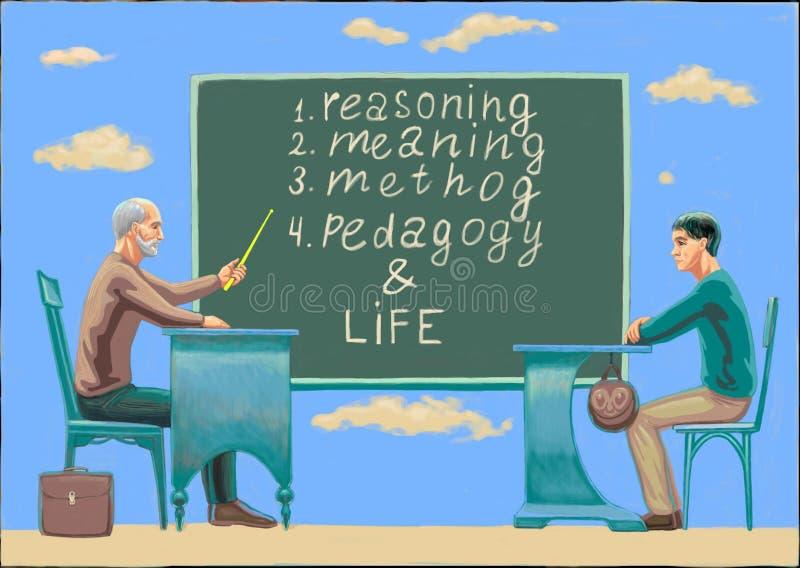 Ένας καθηγητής με μια διδασκαλία ατόμων ελεύθερη απεικόνιση δικαιώματος