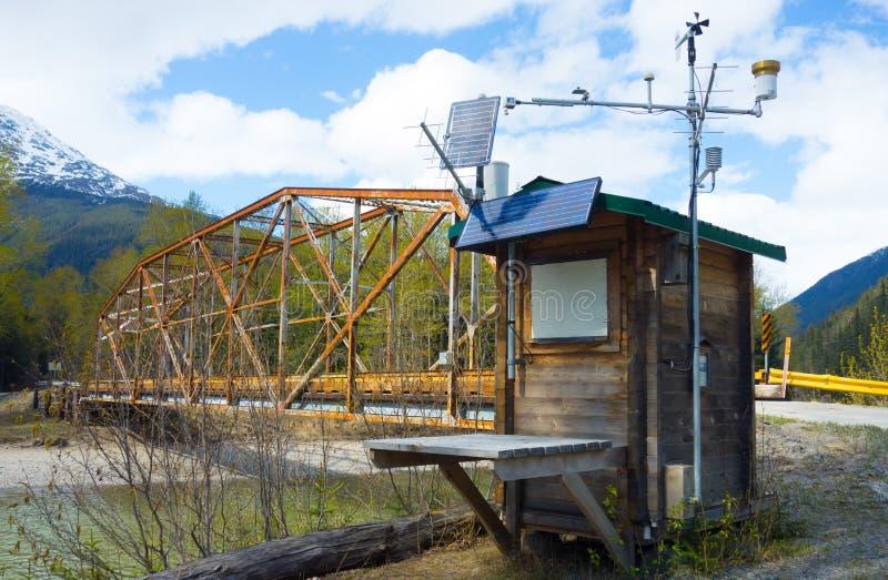 Ένας καιρικός σταθμός εκτός από μια γέφυρα ποταμών στην άνοιξη στοκ φωτογραφίες