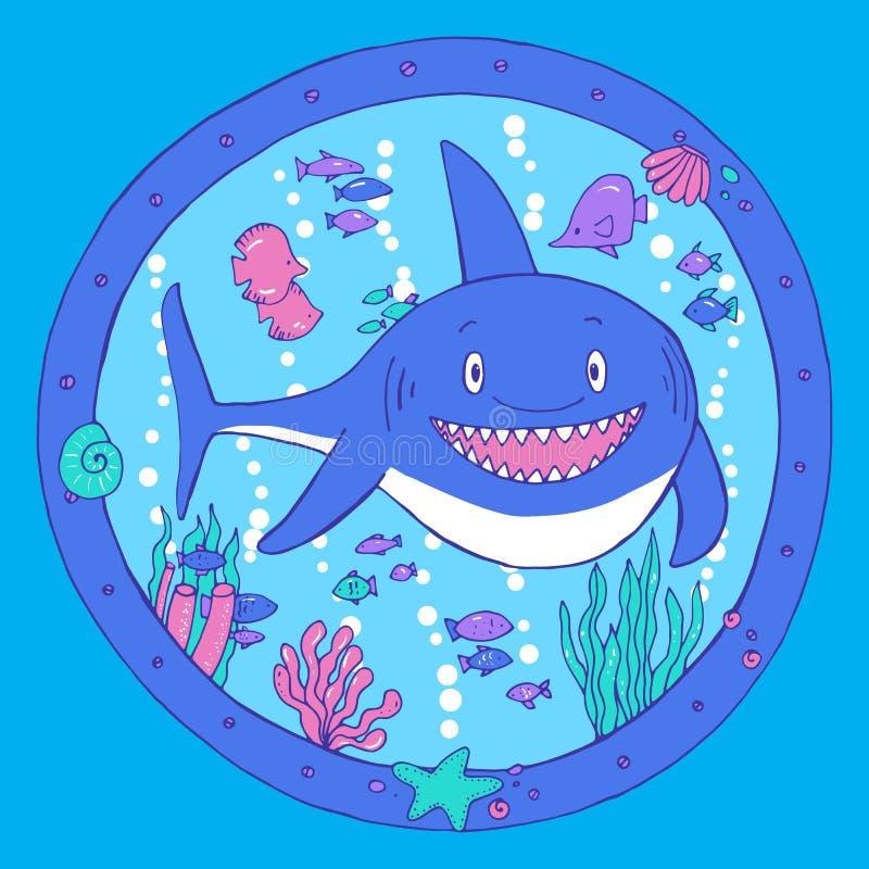 Ένας καρχαρίας σε μια παραφωτίδα ζωή υποβρύχια ελεύθερη απεικόνιση δικαιώματος
