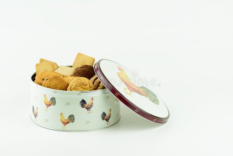 Ένας κασσίτερος των μπισκότων ή των μπισκότων στοκ εικόνες με δικαίωμα ελεύθερης χρήσης