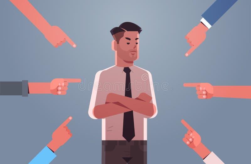 Ένας καταθλιπτικός επιχειρηματίας που δέχεται απειλές περικυκλωμένος από χέρια, τον χλευάζει με βία, ενώ εκφοβίζει την ιδέα του ε διανυσματική απεικόνιση