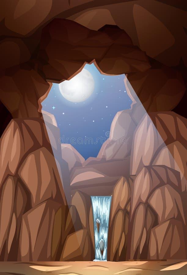 Ένας καταρράκτης στη σπηλιά διανυσματική απεικόνιση