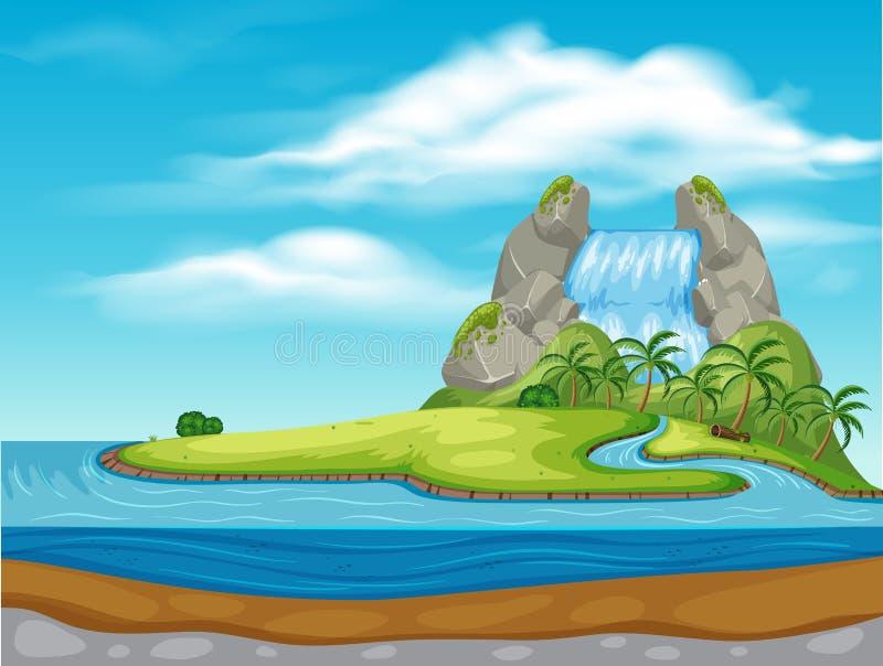 Ένας καταρράκτης στο όμορφο νησί ελεύθερη απεικόνιση δικαιώματος