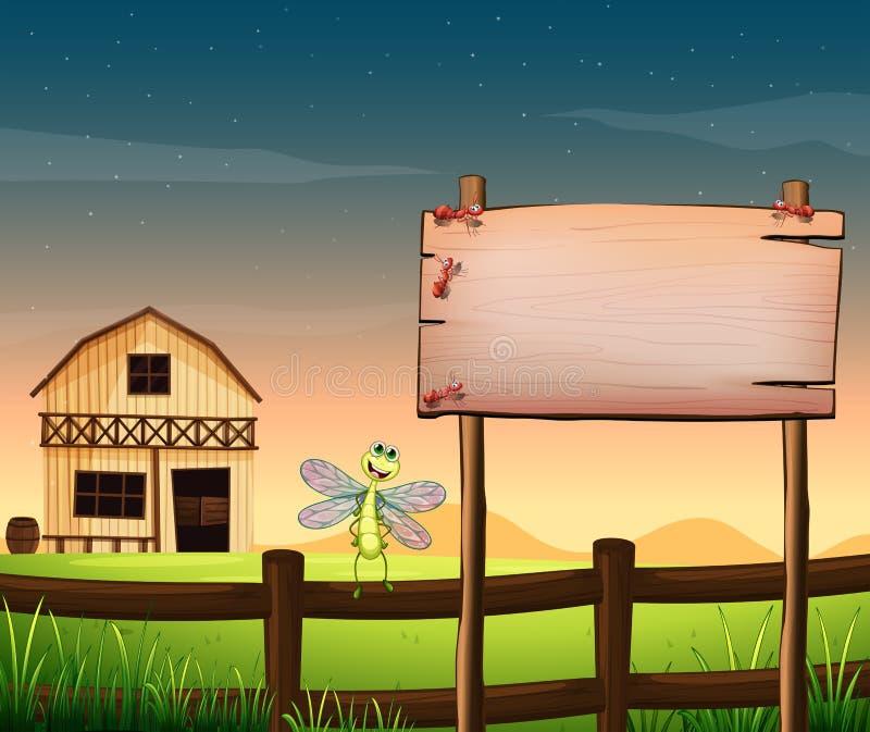 Ένας κενός ξύλινος πίνακας κοντά στο φράκτη με μια λιβελλούλη διανυσματική απεικόνιση