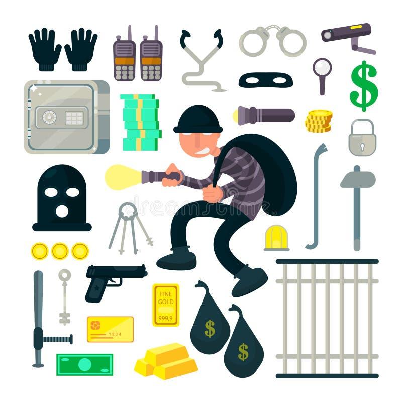 Ένας κλέφτης, διαρρήκτης ή ληστής, εγκληματικός χαρακτήρας κινουμένων σχεδίων με την τσάντα του με τα βαλίτσες του και τους δαυλο απεικόνιση αποθεμάτων