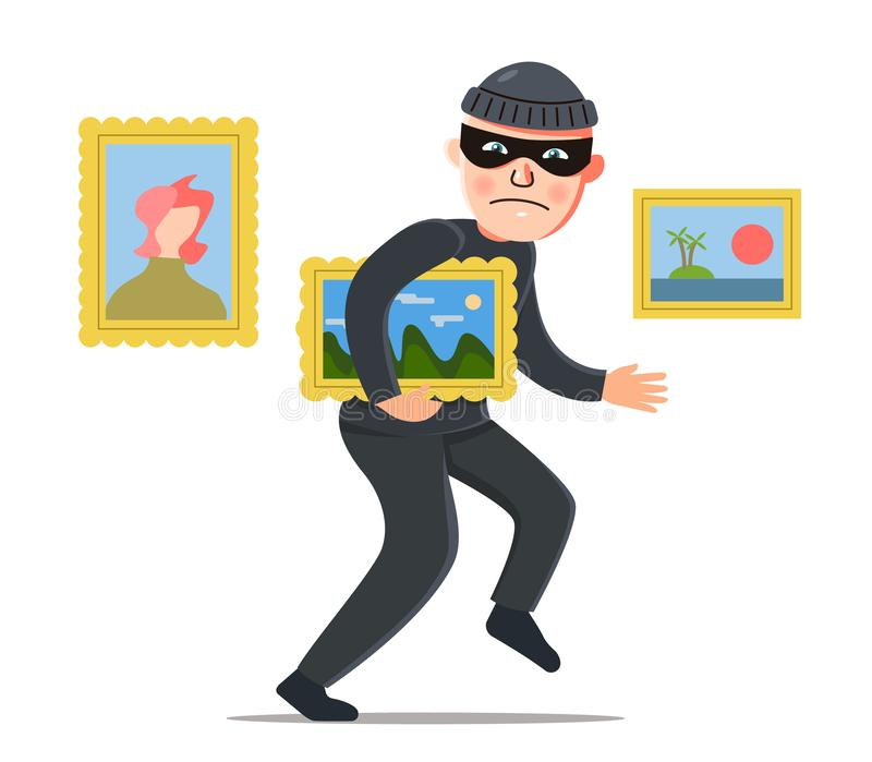 Ένας κλέφτης κλέβει μια ζωγραφική από ένα μουσείο κλοπή αξίας απεικόνιση αποθεμάτων