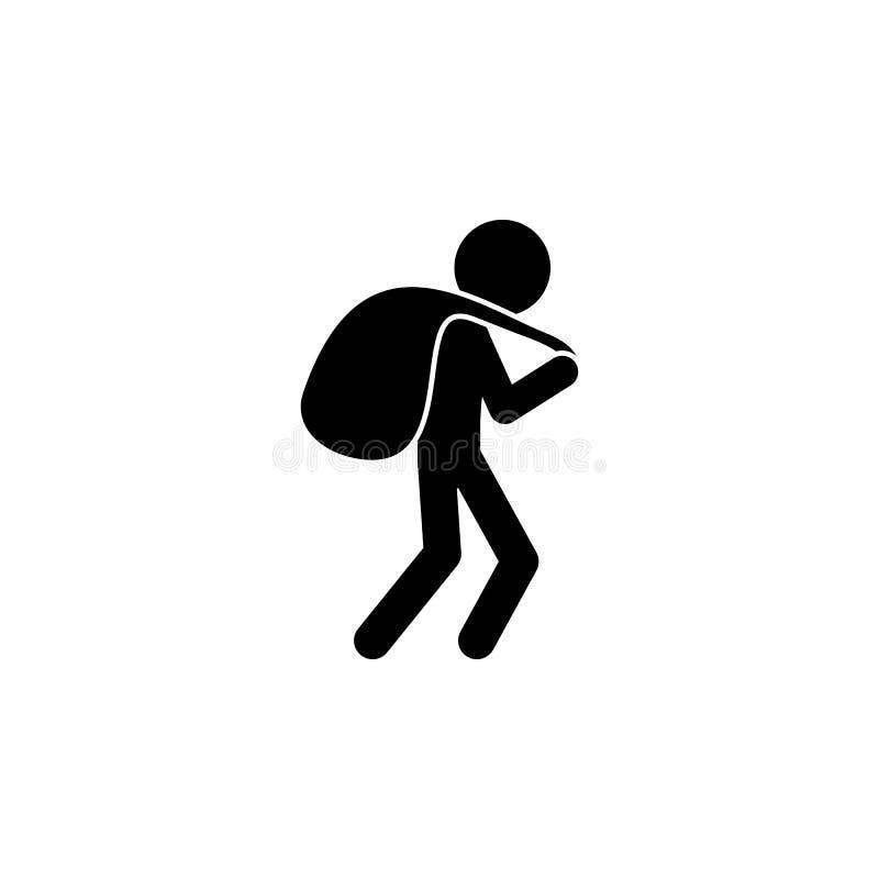 ένας κλέφτης με μια τσάντα του εικονιδίου λαφύρων Απεικόνιση ενός εγκληματικού εικονιδίου σκηνών Γραφικό εικονίδιο σχεδίου εξαιρε ελεύθερη απεικόνιση δικαιώματος
