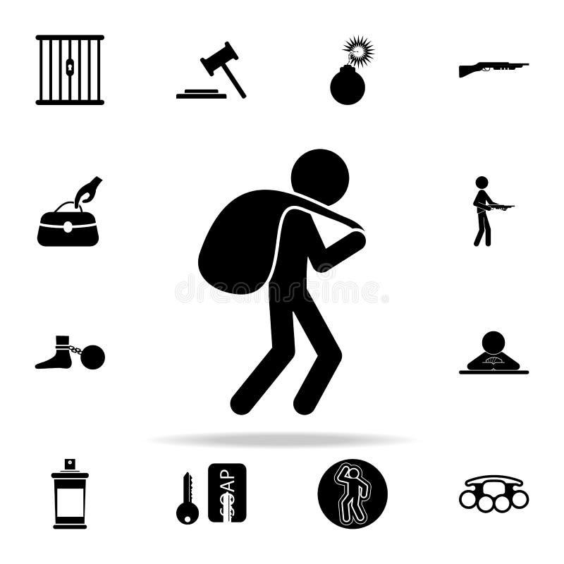 ένας κλέφτης με μια τσάντα του εικονιδίου λαφύρων Καθολικό εικονιδίων εγκλήματος που τίθεται για τον Ιστό και κινητό ελεύθερη απεικόνιση δικαιώματος