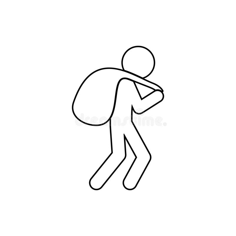 ένας κλέφτης με μια τσάντα του εικονιδίου λαφύρων Στοιχείο του εγκλήματος για το κινητό εικονίδιο έννοιας και Ιστού apps Λεπτό ει διανυσματική απεικόνιση