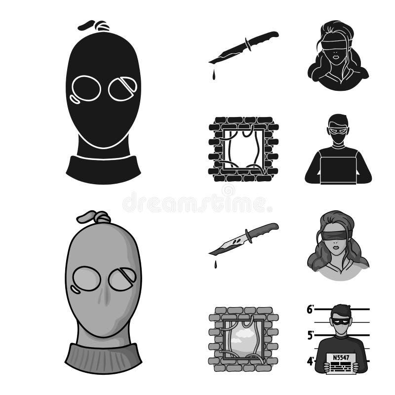 Ένας κλέφτης σε μια μάσκα, ένα αιματηρό μαχαίρι, ένας όμηρος, μια διαφυγή από τη φυλακή Καθορισμένα εικονίδια συλλογής εγκλήματος διανυσματική απεικόνιση