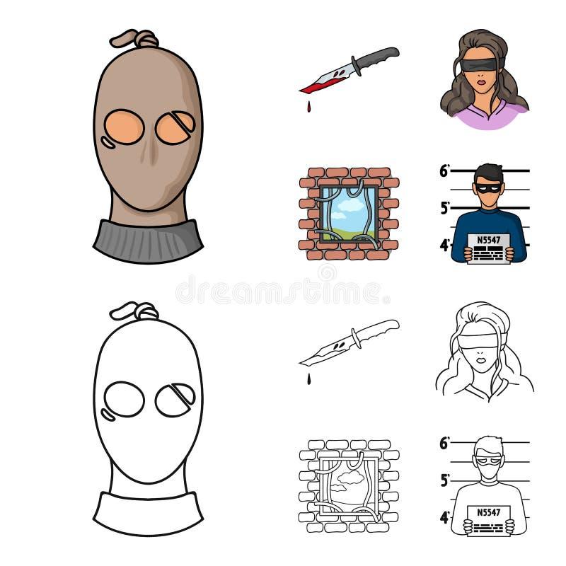 Ένας κλέφτης σε μια μάσκα, ένα αιματηρό μαχαίρι, ένας όμηρος, μια διαφυγή από τη φυλακή Καθορισμένα εικονίδια συλλογής εγκλήματος ελεύθερη απεικόνιση δικαιώματος