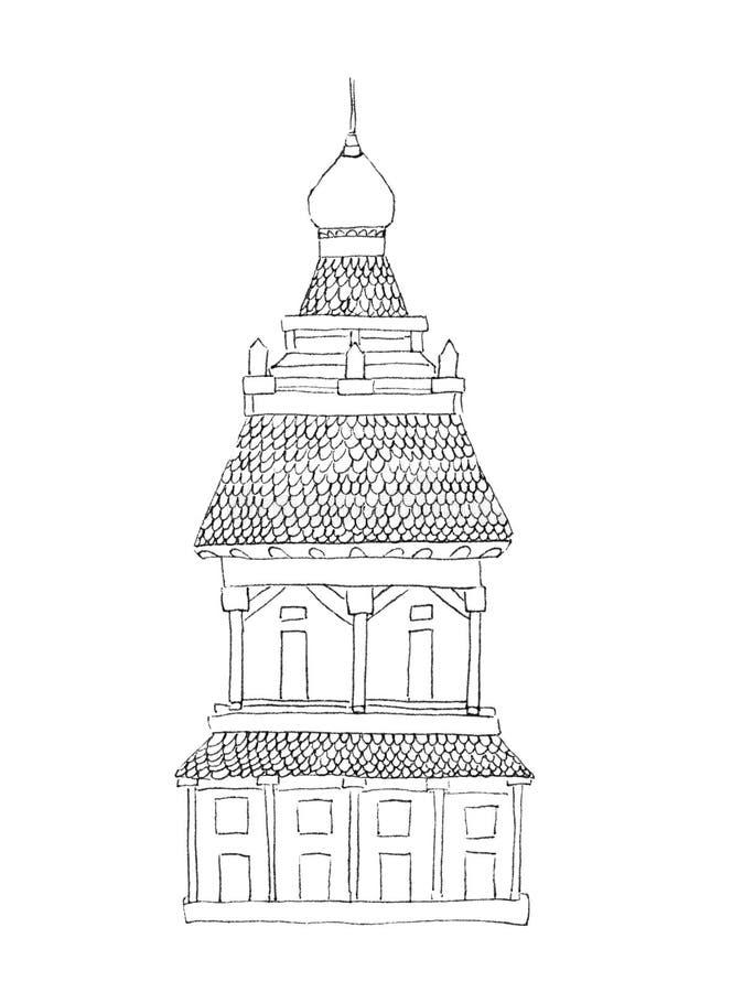 Ένας κοντόχοντρος πύργος στο ρωσικό ασιατικό ύφος με τις στήλες, κεραμίδια και ένας θόλος, hand-drawn από τις μαύρες περιλήψεις γ ελεύθερη απεικόνιση δικαιώματος