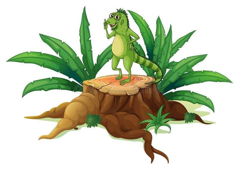 Ένας κορμός με ένα iguana απεικόνιση αποθεμάτων