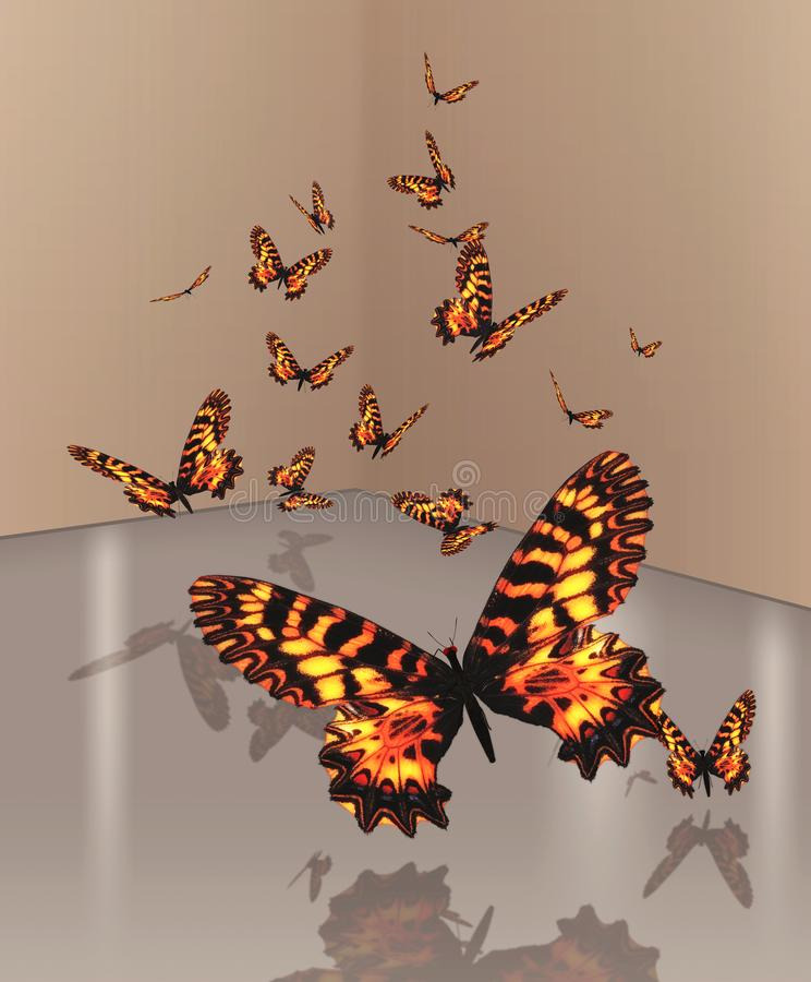 Ένας κυματισμός των πορτοκαλιών πεταλούδων ελεύθερη απεικόνιση δικαιώματος
