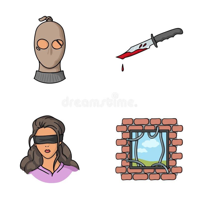 Ένας κλέφτης σε μια μάσκα, ένα αιματηρό μαχαίρι, ένας όμηρος, μια διαφυγή από τη φυλακή Καθορισμένα εικονίδια συλλογής εγκλήματος απεικόνιση αποθεμάτων
