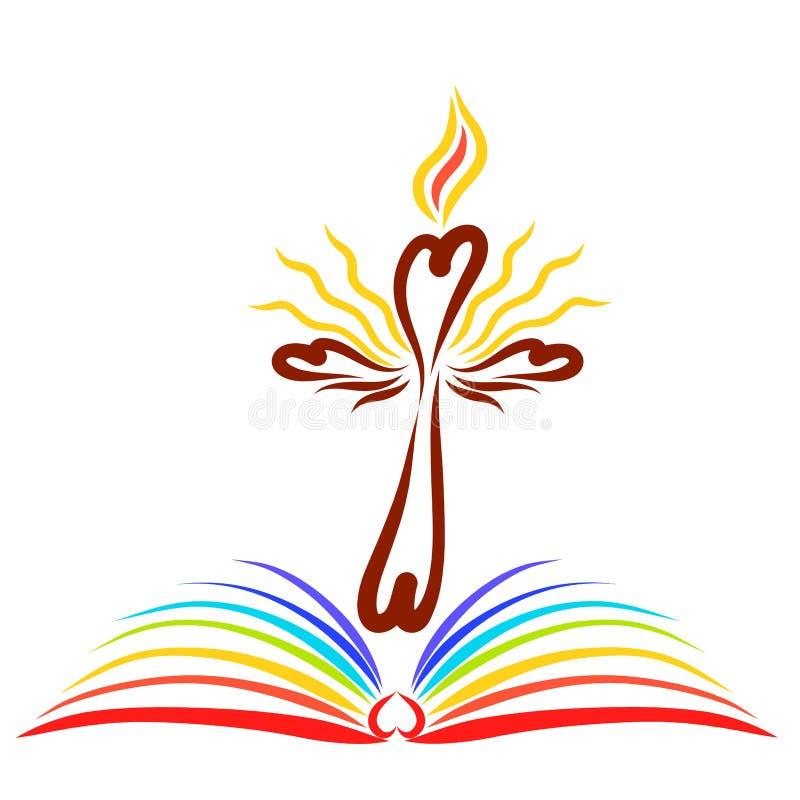 Ένας λάμποντας σταυρός με μια φλόγα επάνω από ένα ανοικτό βιβλίο με τις σελίδες του θορίου ελεύθερη απεικόνιση δικαιώματος