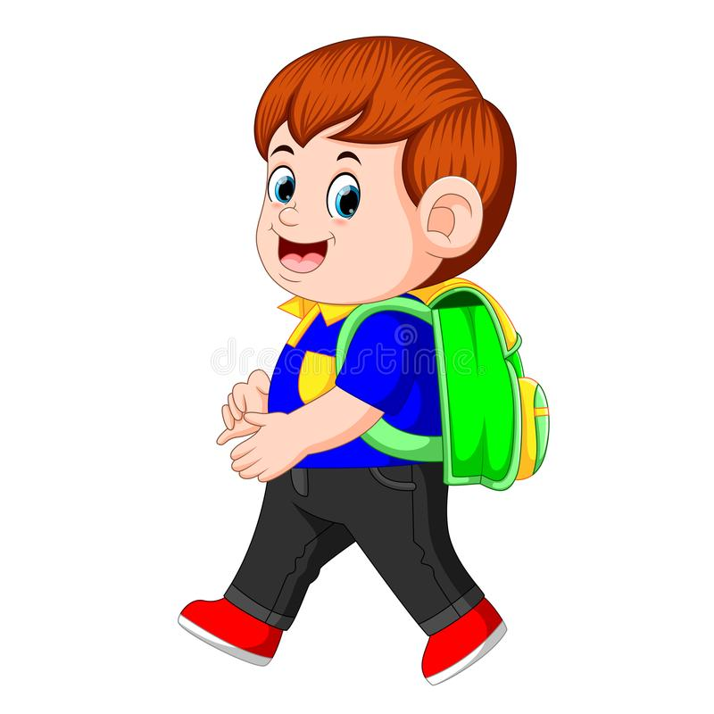 Ένας μαθητής με τα σακίδια πλάτης που περπατά με το χαμόγελο απεικόνιση αποθεμάτων