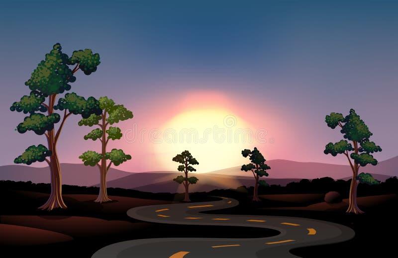 Ένας μακρύς και δρόμος με πολλ'ες στροφές που πηγαίνει στο δάσος διανυσματική απεικόνιση