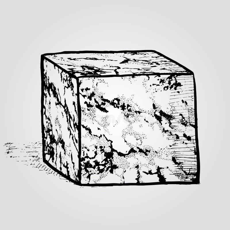 Ένας μαρμάρινος κύβος πετρών Συρμένο χέρι στοιχείο σχεδίου Εκλεκτής ποιότητας διάνυσμα ι διανυσματική απεικόνιση