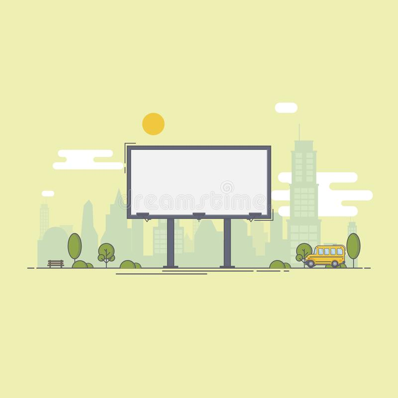 Ένας μεγάλος κενός πίνακας διαφημίσεων πόλεων για τη διαφήμισή σας και έπειτα ελεύθερη απεικόνιση δικαιώματος