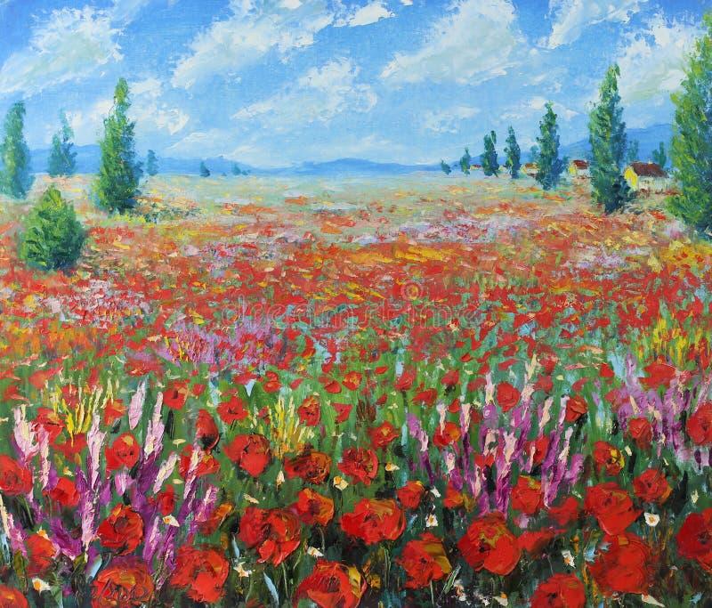 Ένας μεγάλος τομέας των κόκκινων λουλουδιών, σύννεφα διανυσματική απεικόνιση