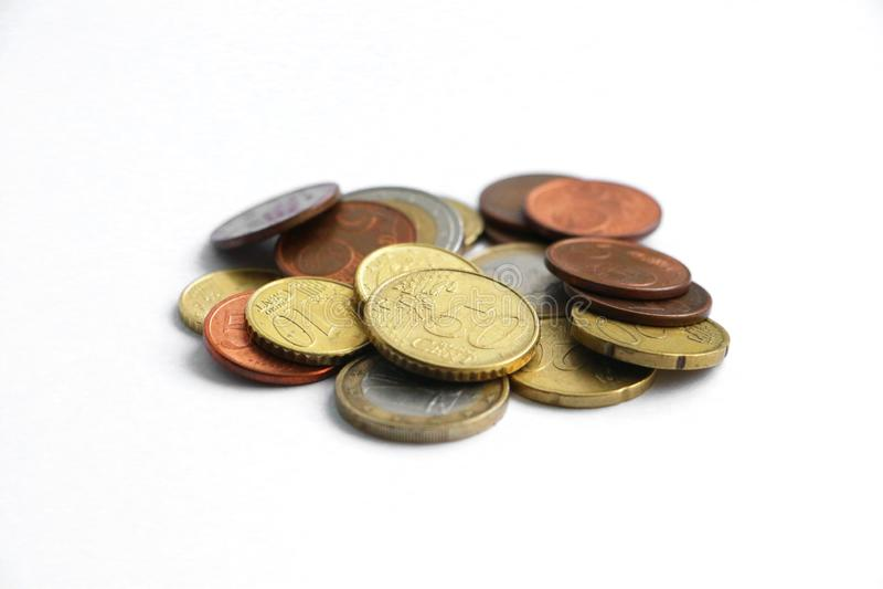 Ένας μικρός σωρός των ευρο- νομισμάτων στοκ φωτογραφία με δικαίωμα ελεύθερης χρήσης