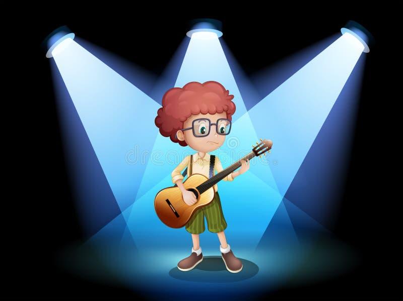 Ένας νέος κιθαρίστας στο κέντρο του σταδίου διανυσματική απεικόνιση