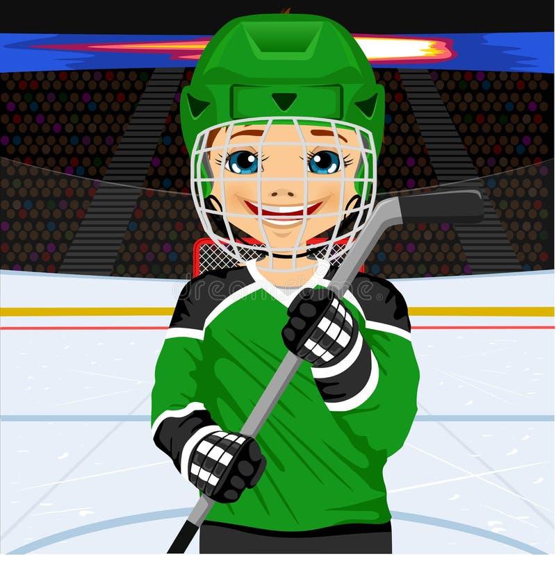Ένας νέος παίκτης χόκεϋ σε ομοιόμορφο με ένα ραβδί χόκεϋ πάγου απεικόνιση αποθεμάτων