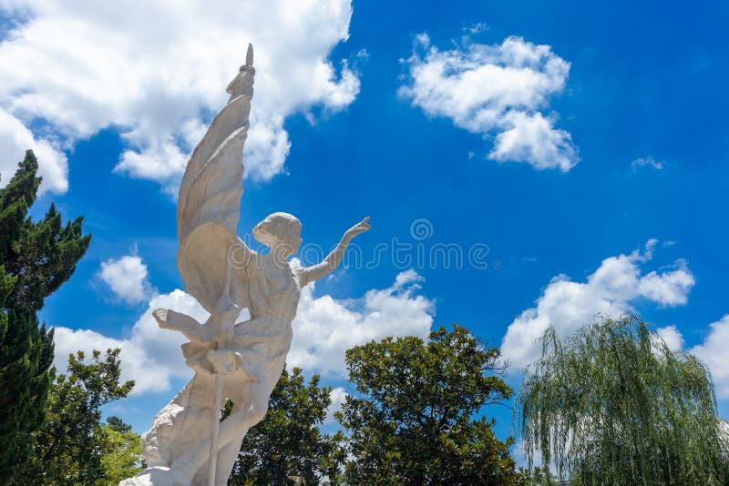 Ένας νέος πρωτοπόρος που κρατά ένα άγαλμα σημαία-πάρκων στοκ φωτογραφία